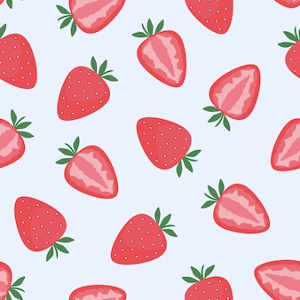 Strawberry, whole and cut berries. seamless pattern. flat vector illustration. texture for print, fabric, textile, wallpaper.