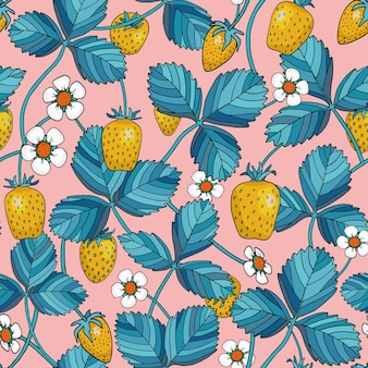 Strawberry with blue leaves seamless pattern
