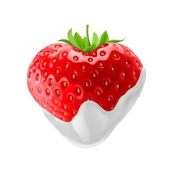 흰색 바탕에 초콜릿 찍기와 딸기