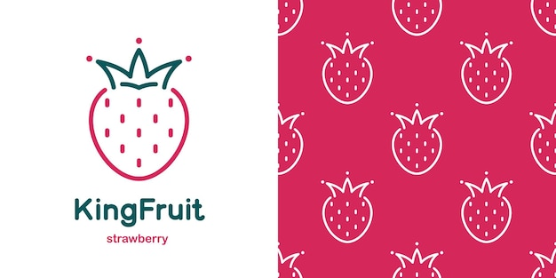 Strawberry with crown in doodle style and seamless pattern. stylized fruit