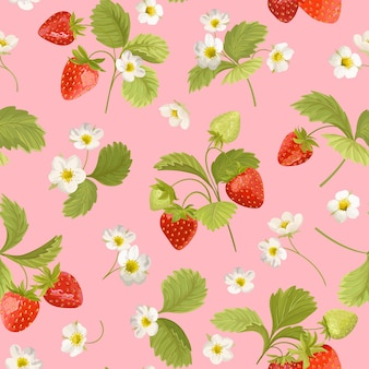 Strawberry with flowers, wild berries, leaves vector pattern. seamless background texture illustration in watercolor style for summer cover, botanical wallpaper, vintage backdrop, wedding invitation