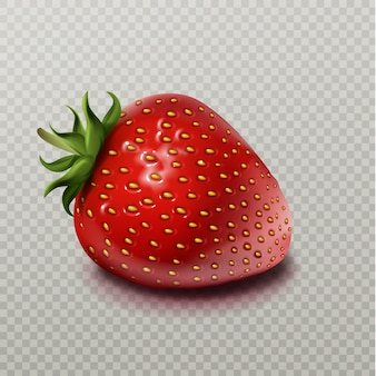 Strawberry with green leaf isolated on transparent