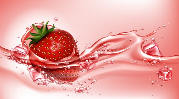 Strawberry with juice flowing splash, realistic