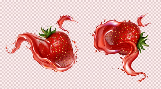 Strawberry with juice splash, realistic isolated
