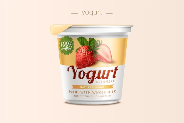 Strawberry yogurt package design, food container