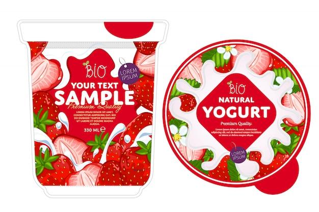 Шаблон дизайна упаковки клубничного йогурта.