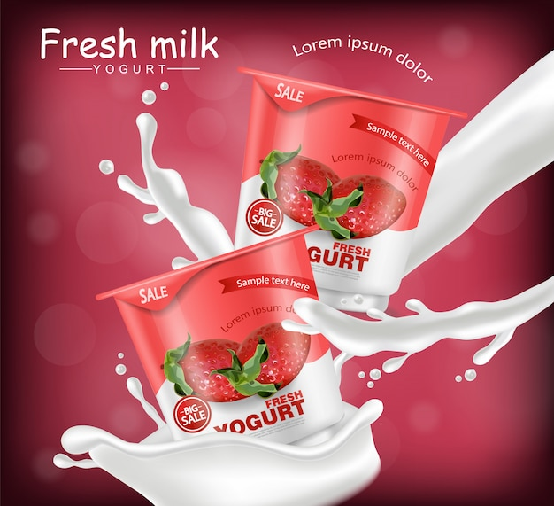Strawberry yogurt realistic mockup
