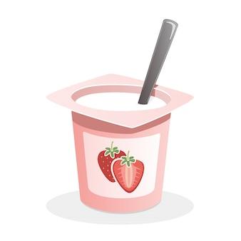 Клубничный йогурт с ложкой внутри на белом фоне
