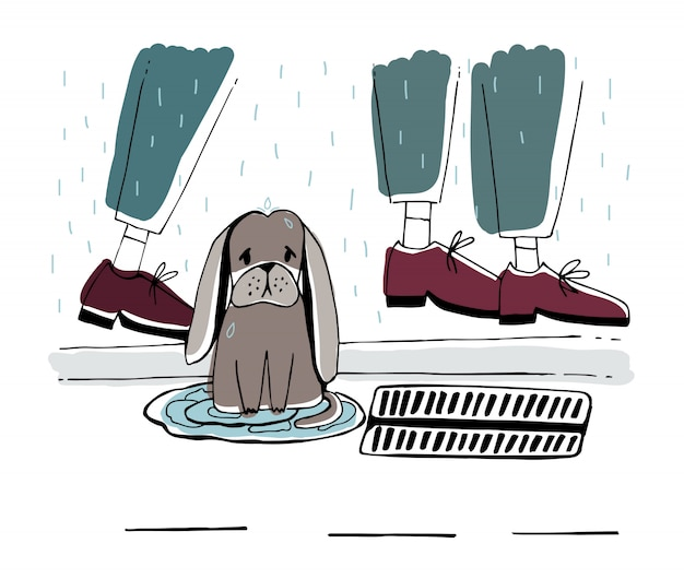 The stray dog at street. homeless puppy with sad look under rain. hand drawn illustration.