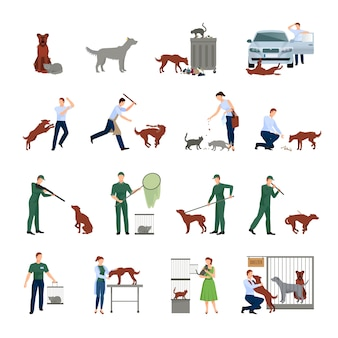 Stray dogs and characters set behavior of animals in society catching treatment in a veterinary clinic and finding them shelter protection vector illustration