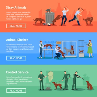 Stray dogs problems flat horizontal banners set webpage design with animal shelters abstract isolated vector illustration