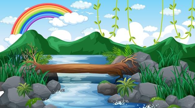 Ручей, текущий через лес с горным фоном и радугой в небе