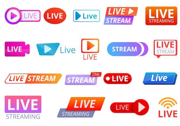 Набор иконок stream, мультяшном стиле