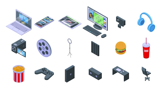 Набор иконок потока. изометрические набор векторных иконок потока для веб-дизайна, изолированных на белом пространстве