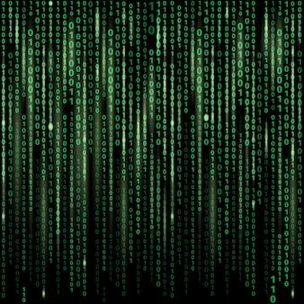 画面上のバイナリコードのストリーム。抽象的なベクトルの背景。データとテクノロジー、復号化と暗号化