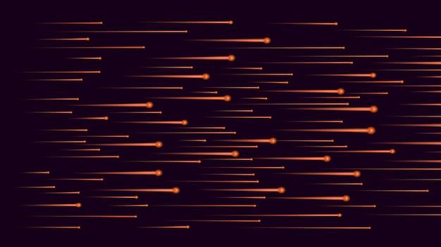黒に速く流れるオレンジ色の光の流れ