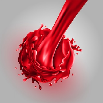 Stream of pouring cherry juice on a gray background