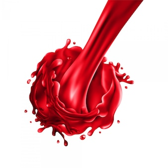 Stream of pouring cherry juice on a white background