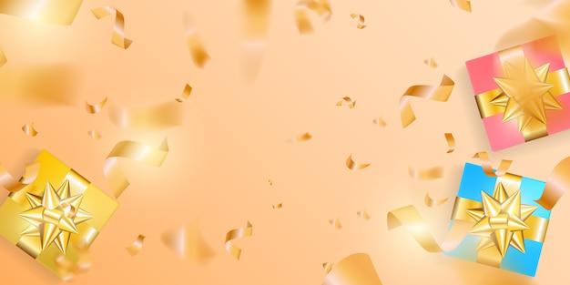 黄金のstreamのぼりの背景を持つギフトボックス