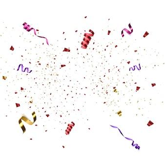 紙吹雪が爆発しました。色飛ぶリボンとstreamのぼり。誕生日パーティーのベクトルの背景