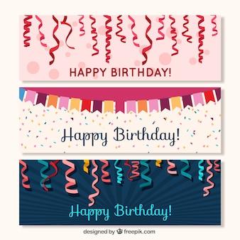 Streamer banners and garland birthday