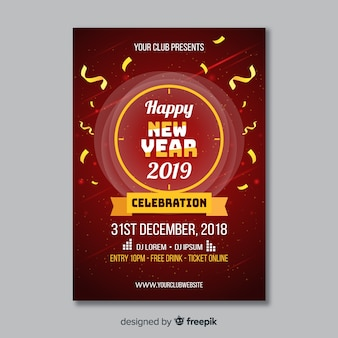 Streamer new year poster template
