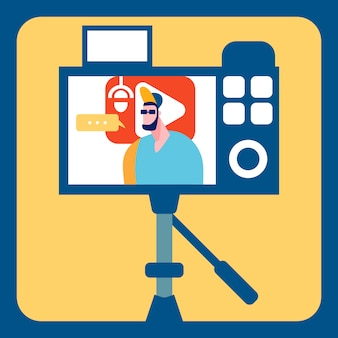 Streamer recording video flat color illustration