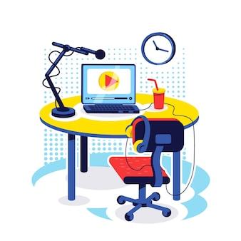 유영 설정 평면 개념. 비디오 방송 장비가있는 책상. 콘텐츠 생성자 테이블. 웹 디자인을위한 vlogger 직장 2d 만화 개체입니다. blogger 작업 공간 창의적인 아이디어