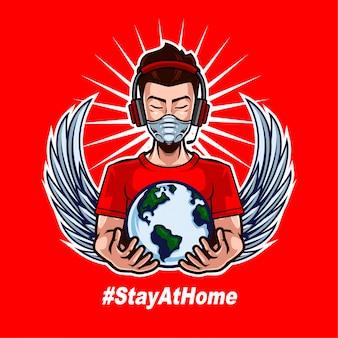 ストリーマー着用マスクと人間の戦いをサポートするための世界を開催コロナウイルスをもう一度