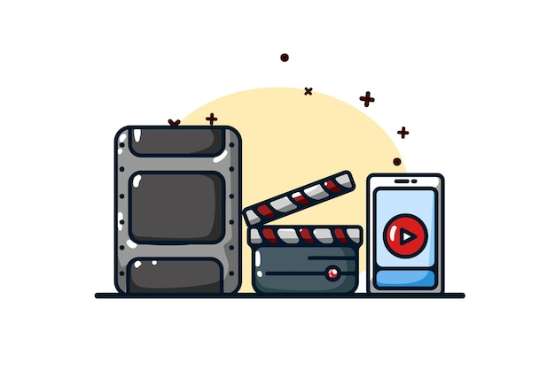 Streaming icon and watching videos illustration