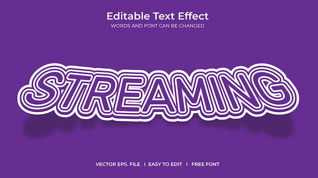 Streaming illustrator editable text effect template design