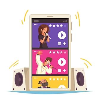 スマートフォンの画面フラットでさまざまな歌手とストリーミング音楽モバイルアプリのコンセプト