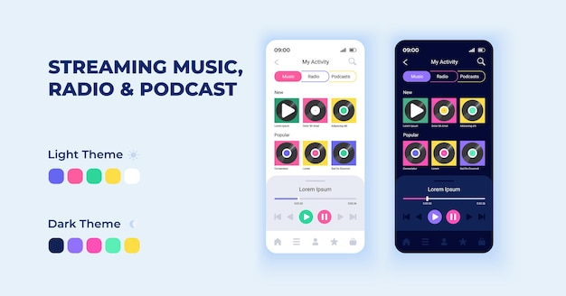 Streaming music and podcasts cartoon smartphone interface vector templates set. mobile app screen page night and day mode design. radio listening ui for application. phone display with flat character