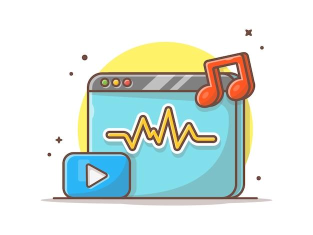 Потоковое музыкальное видео с кнопкой воспроизведения и ноты музыки. onilne потокового белого изолированных