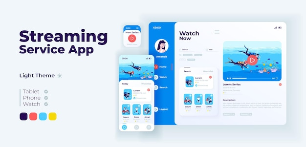 Streaming service app screen vector adaptive design template. vlogging application day mode interface with flat characters. live video broadcasting platform smartphone, tablet, smart watch cartoon ui.