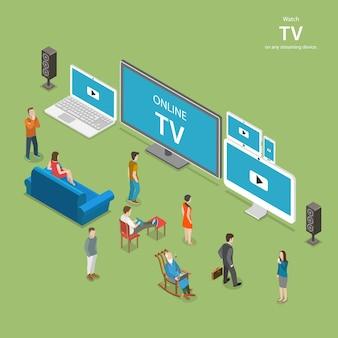 ストリーミングtvアイソメトリック。人々は、pc、ラップトップ、tvセットのタブレット、スマートフォンなど、さまざまなインターネット対応デバイスでオンラインtvを視聴します。