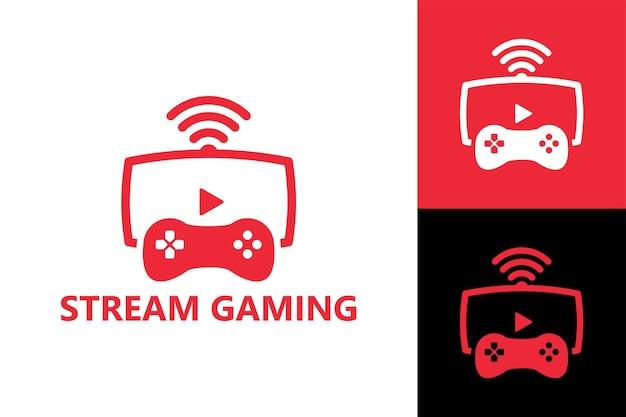 ストリーミングビデオゲームのロゴテンプレートプレミアムベクトル