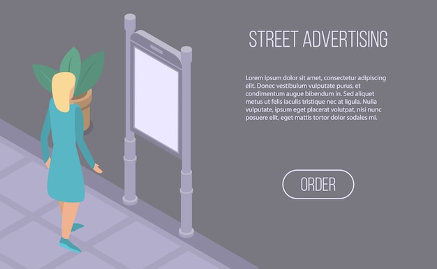 Street advertising banner, isometric style