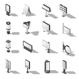 Street advertising isometric icons set