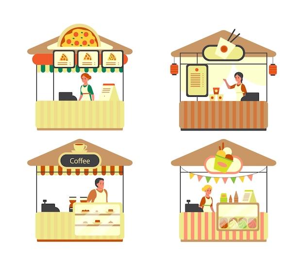 거리와 패스트 푸드 도시 트럭. 피자, 커피, 아이스크림, 쌀국수 바. 거리 축제 기간 동안 야외에서 간식 판매.