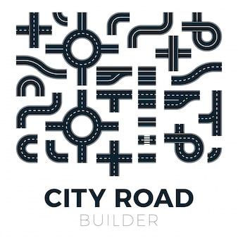 通りや歩道や交差点のある道路。市内地図の要素。高速道路のアスファルトパスの交通通り