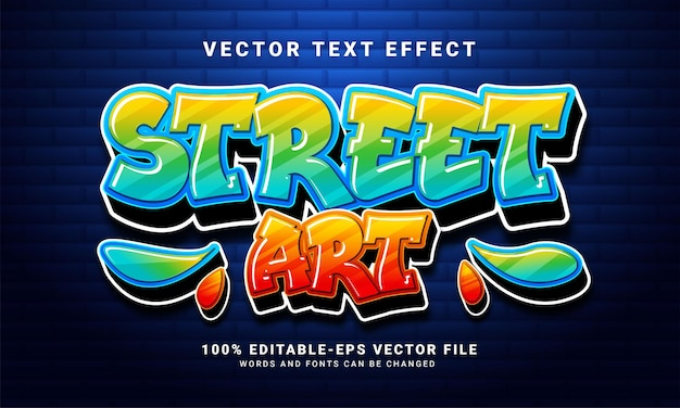 Street art 3d text effect, editable graffiti and colorful text style