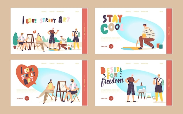 Street artist characters work landing page template set. man painting portrait of girl sitting in front of easel. painter drawing on asphalt. outdoor creative hobby. cartoon people vector illustration