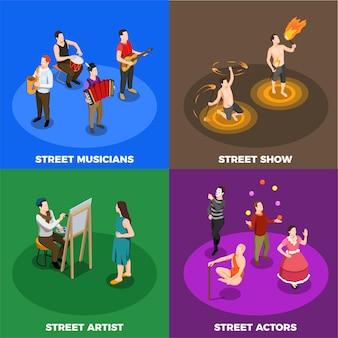 ストリートアーティストミュージシャン俳優と火の実行者が分離された等尺性概念を表示します。