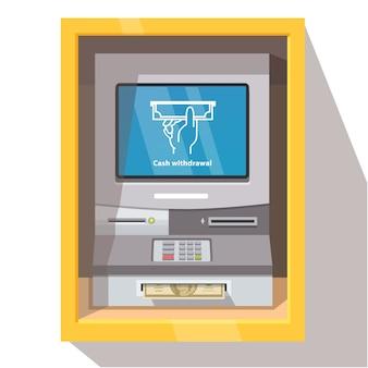 Уличная банкоматная машина с текущим режимом работы