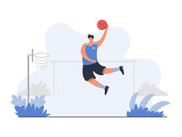 거리 농구 개념 삽화