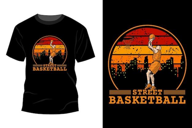 ストリートバスケットボールtシャツモックアップデザインヴィンテージレトロ