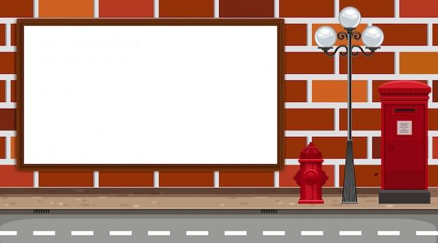 Street billboard on masonry wall
