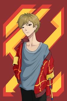 Street boy red jacket character design