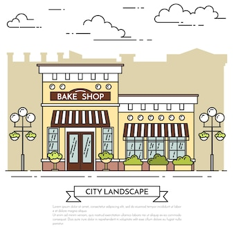 Street cafe, bakery with lamps on white background. vector illustration. line art.